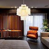 Aero Snail Round Chandelier with 3-Light Capiz Seashells Natural White DIY Pendant Lamp for Living Room Bedroom