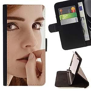 Momo Phone Case / Flip Funda de Cuero Case Cover - Emma Watson;;;;;;;; - LG G2 D800