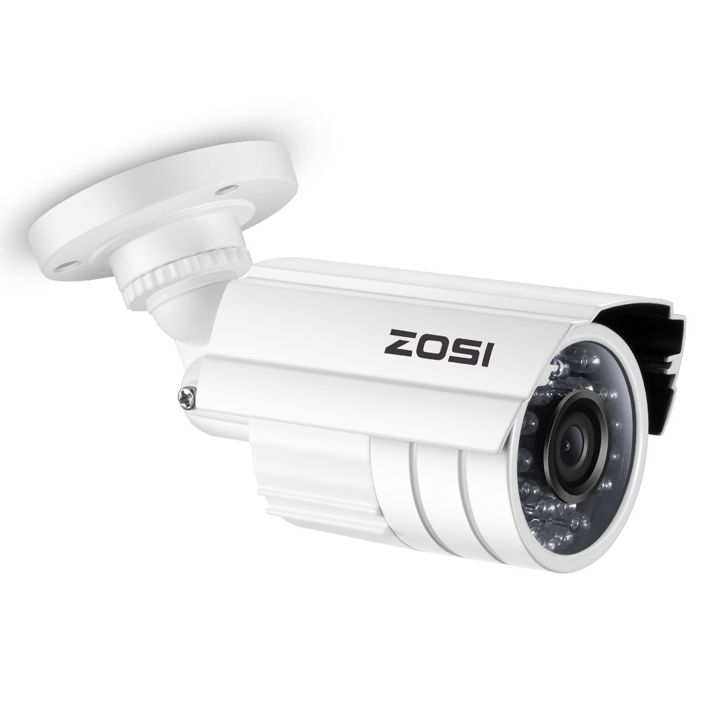 ZOSI HD 800TVL 24PCS IR-LEDs 3.6mm Lens with IR Cut CCTV Camera Home Security Day/Night Weatherproof Indoor Outdoor Bullet Surveillance Cameras 65ft Night Vision, Aluminum Metal Housing White by ZOSI