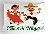 Lunarable Cinco De Mayo Pillow Sham, Traditional Mexican Dancers Couple for Latin Music Folk Celebration Theme, Decorative Standard Queen Size Printed Pillowcase, 30 X 20 inches, Multicolor