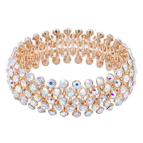 Lavencious Tennis 5 Row Rhinestone Stretch Bracelets Bridal Evening Party Jewelry for Woman Bangle (Gold AB)