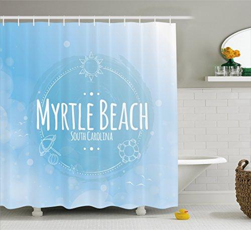 Lunarable Myrtle Beach Shower Curtain, South Carolina Beach Lettering with Sun Umbrella and Starfish Sketch, Cloth Fabric Bathroom Decor Set with Hooks, 105