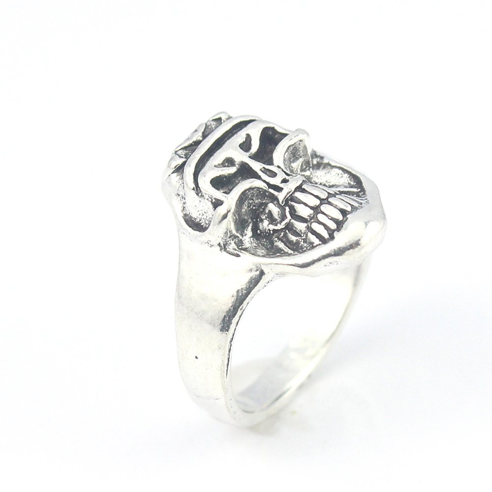SKULL PLAIN FASHION JEWELRY .925 SILVER PLATED RING 10.5 S23586