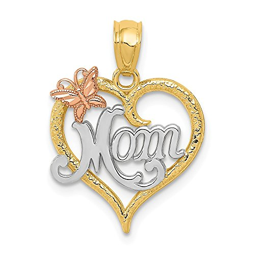 14k Two Tone Yellow Gold Mom Heart Pendant Charm Necklace Love S/love Message Fine Jewelry Gifts For Women For Her