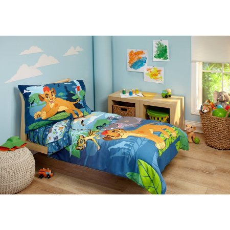 4 Piece Kids Blue Green Lion Guard Toddler Bed Set, Gray Yellow Disney Bedding Cheetah Comforter Hippo Birds Palm Tree Leaves Moutains Pattern Sheets Fitted Sheet Bedroom Children Bed Child, Polyester