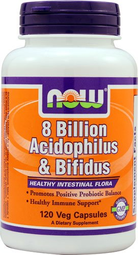 NOW Foods 8 Billion Acidophilus & Bifidus -- 8 billion - 120 Veg Capsules - 3PC