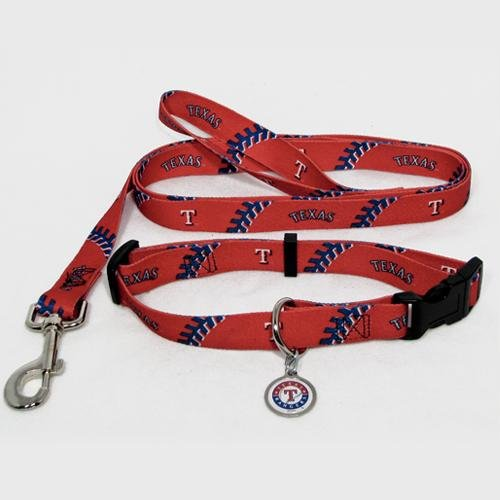 Hunter Manufacturing HUN-4100-14-6300 Texas Rangers MLB Dog Collar & Leash Set
