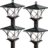 (Set/4) Ideaworks Outdoor Solar Powered Home LED Yard Lamp w/5 Foot Pole