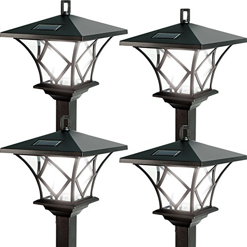 (Set/4) Ideaworks Outdoor Solar Powered Home LED Yard Lamp w/5 Foot Pole by Johnson Smith