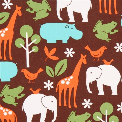 Michael Miller brown fabric Zoology blue zoo animals (per 0.5 yard multiple)