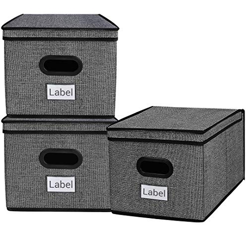 (Homyfort Stackable Cloth Storage Bins with Lid- 3 Pack, Flodable Cubes Box Baskets Containers Organizer for Closet, Shelf, Nursery, Cabinet, with 2 Plastic Handles, Black with Pattern)