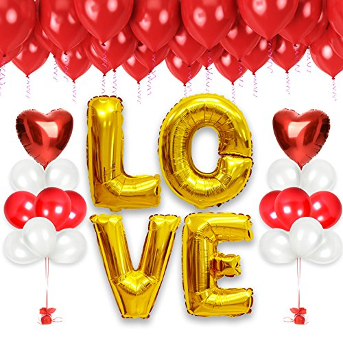 Love Balloon Bouquet (Valentine Balloons Bouquet ft. Jumbo 40 Inches LOVE Foil Balloons in Gold, Red Foil Heart Balloons, Red and White Valentine Latex Balloons, Valentine's Day Decorations (Red/White))