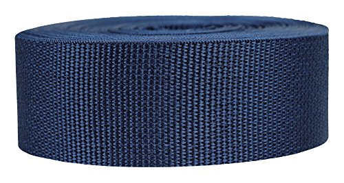 Strapworks Lightweight Polypropylene Webbing - Poly Strapping for Outdoor DIY Gear Repair, Pet Collars, Crafts - 2 Inch x 10 Yards - Navy Blue