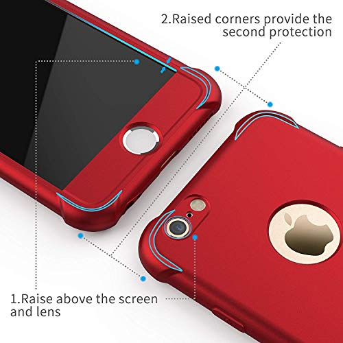 ORETECH Designed for iPhone 6S Plus Case, iPhone 6 Plus Case with [2 x Tempered Glass Screen Protector] 360° Full Body…