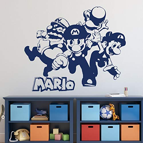 BYRON HOYLE Super Mario Wall Decor - Mario, Luigi, Wario and Yoshi Vinyl Wall Decal for Boys Room, Playroom, Video Game Fan Birthdays and Events -