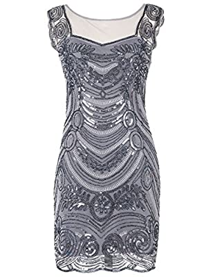 Emust Women's 1920s Sequin Embellished Charleston Downton Gatsby Flapper Dress