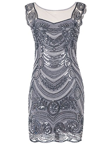 Emust Women's 1920s Sequin Embellished Charleston Downton Gatsby Flapper Dress Silver Size X-Small -