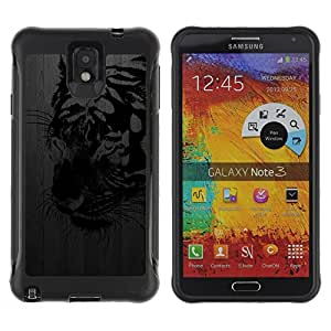 All-Round Hybrid Rubber Case Hard Cover Protective Accessory Compatible with SAMSUNG GALAXY NOTE 3 - tiger black metal brushed street art graffiti