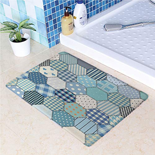 (Indoor Doormat Blue Toned Patchwork Hexagons Stitched Seem Quilt Pattern Retro Tile Image Decorative Absorbs Water Latex Backing Non Slip Door Mat for Small Front Door Inside Mat Entrance Rug)