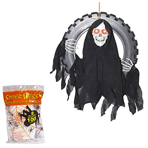 Halloween Decorations Animated Reaper | Outdoor Sound Activated Prop | 16 Inches with Spider Webbing Decoration
