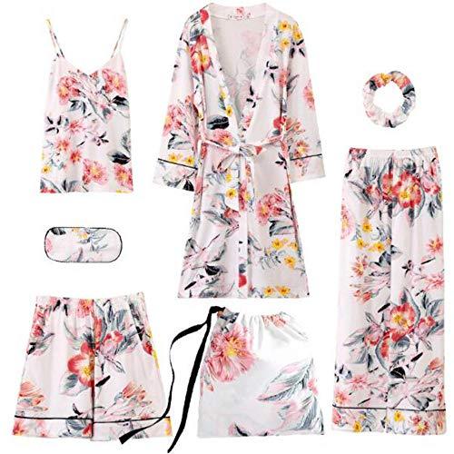 Floral Set Donne Suit Pezzi 7 Pigiama Color Sexy Night Le Femme Photo Sleepwear In Meaeo Cotone Per Pajama 1wfOq5