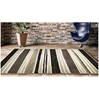 Luxury Mardini, 8 Feet x 10 Feet, Contemporary Abstract Geometric Striped Triangle Soft Pile Thick Plush Stain Fade Resistant Bedroom Living Dining Area Rug (Beige Brown)
