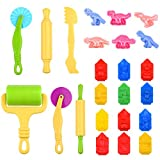 Kare & Kind Set of 24pcs Smart Dough Tools Kit with Models and Molds (Dinosaurs, Animals)