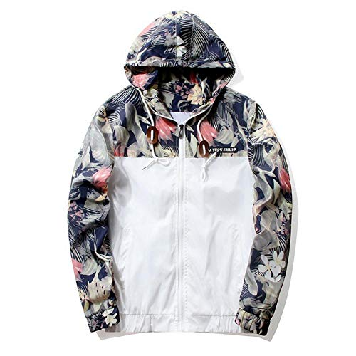 Su-luoyu Deportes y Ocio Sección Delgada Hombre Chaqueta Estampado de Flores Abrigo de Moda Ropa de protección Solar Hip Hop de Moda Blanco