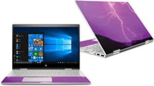 """MightySkins Skin Compatible with HP Envy x360 Convertible 15"""" (2018) - Purple Lightning 