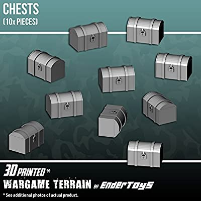 Chests, Terrain Scenery for Tabletop 28mm Miniatures Wargame, 3D Printed and Paintable, EnderToys from Seus Corp Ltd