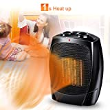 Space Heater - 1500W Portable Heater with Adjustable Thermostat, Tip-Over & Overheat Protection, Adjustable Hot & Cool Fan Modes, Heat Up Fast for Under Desk Floor Office Home