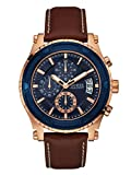 GUESS Men's Stainless Steel Casual Leather Watch, Color: Rose Gold-Tone/Brown (Model: U0673G3)