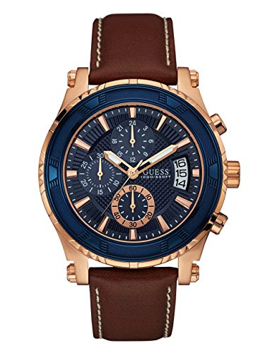 GUESS  Brown + Blue Genuine Leather Chronograph Watch with Date Function. Color: Brown (Model: U0673G3) ()