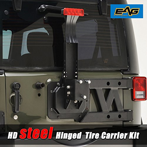 EAG 07-18 Jeep JK Wrangler HD Tire Carrier Kit with Hinge Casting