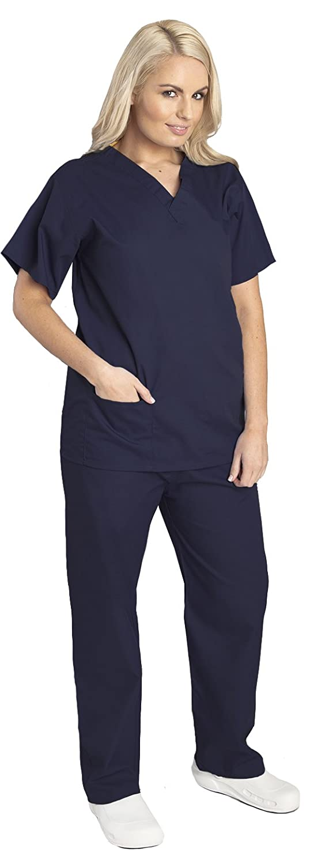 Completo unisex casacca e pantalone per medici/infermieri, double-face, 6 colori disponibili