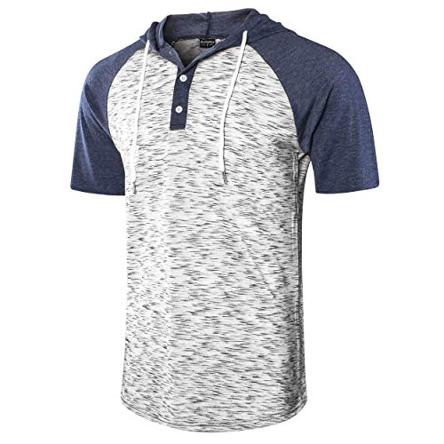 - Moomphya Men's Jacquard Knitted Casual Short Sleeve Raglan Henley Jersey Hoodie T Shirt (Blue/White SL, X-Large)