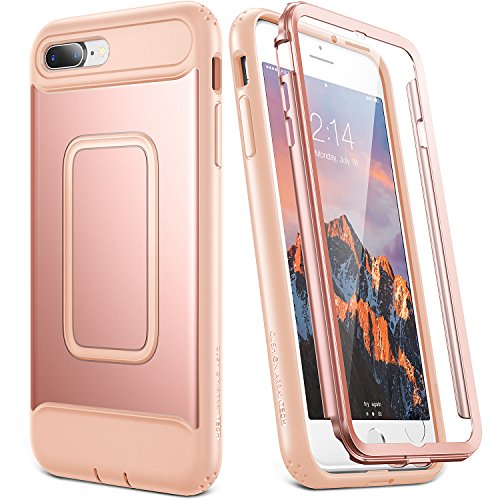 YOUMAKER Case for iPhone 8 Plus & iPhone 7 Plus, Full Body with Built-in Screen Protector Heavy Duty Protection Shockproof Slim Fit Cover for Apple iPhone 8 Plus (2017) 5.5 Inch - Rose Gold/Pink
