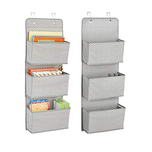 mDesign Soft Fabric Over The Door Hanging Storage Organizer with 3 Large Cascading Pockets, for Office Supplies, Planners, File Folders, Notebooks - Zig Zag Chevron Pattern, Pack of 2, Gray/Cream