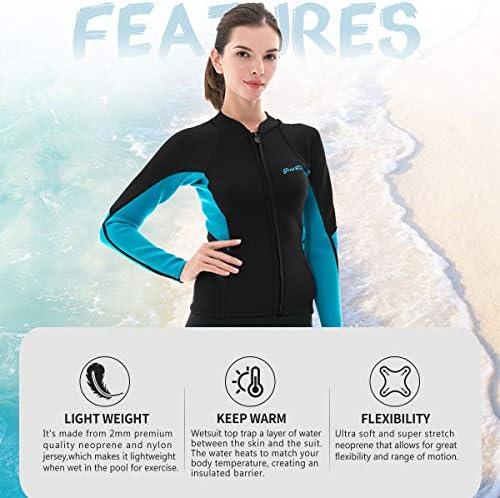 Micosuza Womens Wetsuit Jacket Premium Neoprene 1.5mm Long Sleeve Front Zip Wetsuit Top