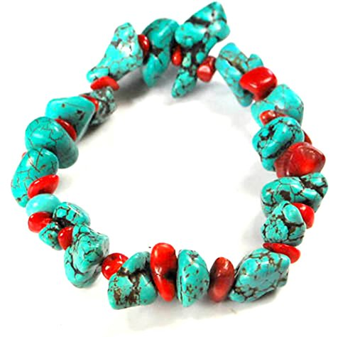 Bamboo Turquoise Necklace - 001 Ny6design Blue Magnesite Turquoise & Bamboo Red Coral Bracelet Stretch Wire 8