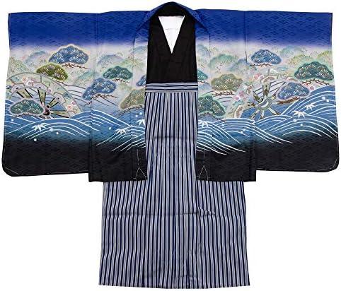 七五三 着物 男の子 五歳 13点フルセット 羽織袴セット 鷹 ブラック 黒色 3510-00006-2