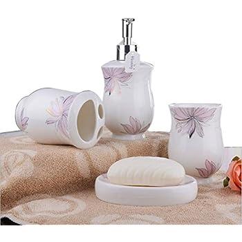 Amazon Com Brandream Elegant Rose Bathroom Set Luxury Ceramic