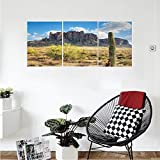 Liguo88 Custom canvas Saguaro Cactus Decor Collection Famous Canyon Cliff with Dramatic Cloudy Sky Southwest Terrain Place Nature Bedroom Living Room Wall Hanging Brown Green Blue