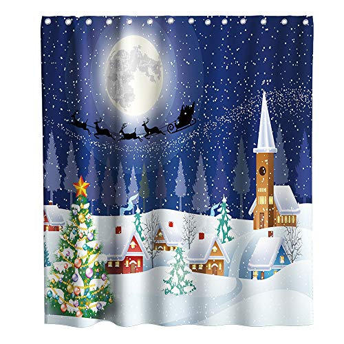 Final Friday Moon Christmas Tree House Theme Fabric Shower Curtain Sets Bathroom Decor with Hooks Waterproof Washable 72 x 72 inches White and Blue
