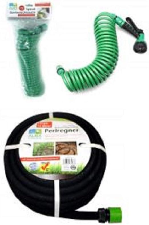 Alma Garden - Juego de 2 mangueras de jardín (1 Manguera Flexible de 7, 5 m, Incluye Adaptador y Cabezal pulverizador con 7 Funciones, 1 aspersor de 15 m con Adaptador): Amazon.es: Jardín