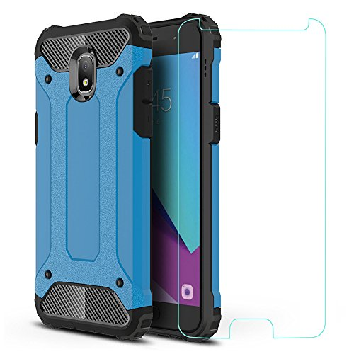 Galaxy J3 2018 Case, ZHFLY [Heavy Duty] Shockproof Bumper Tough Rugged Dual-Layer Protective Case Cover & 2.5D Tempered Glass Screen Protector for Samsung Galaxy J3 2018, Blue
