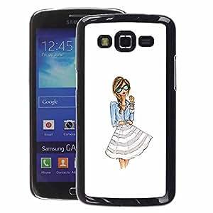 A-type Arte & diseño plástico duro Fundas Cover Cubre Hard Case Cover para Samsung Galaxy Grand 2 (Dress Fashion Girl Woman White Glasses)