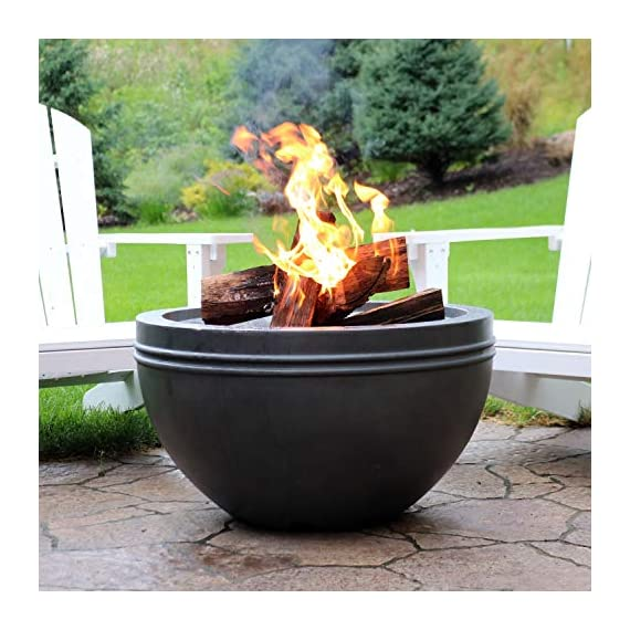 Sunnydaze Large Steel Outdoor Fire Pit Bowl Set with Steel Lid Cover - 29-Inch Round Bonfire Pit - Wood Burning - Patio & Backyard Use - Gray - LARGE SIZE: Outside backyard firepit cauldron is 29 inches diameter x 17.5 inches tall; Weighs 46 pounds; Deep base is 16.5 inches tall x 29 inches diameter; Fire bowl is 23.5 inches diameter x 6.75 inches deep; Lid is 24.25 inches diameter x 1.25 inches tall DURABLE AND STRONG: Round firebowl is made of heavy-duty steel; Lid cover is constructed of top quality steel metal; Large base is made of glass-reinforced concrete INCLUDES A LID/COVER: Bonfire pit kit includes lid with handle for ease of handling and safety; Handle is in the shape of a flower with beautiful details that add a subtle decorative touch to this piece of modern decor for the outdoors - patio, outdoor-decor, fire-pits-outdoor-fireplaces - 515Df1c0jXL. SS570  -
