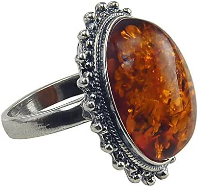 Sterling Silver and Baltic Honey Amber Classic Oval Ring by HolidayGiftShops