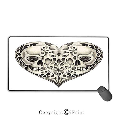 Stitched Edge Mouse pad,Day of The Dead Decor,Twin Half Fire Design in Hearts Festive Spanish Image Print,Cream and Black,Ideal for Desk Cover, Computer Keyboard, PC and Laptop,15.8